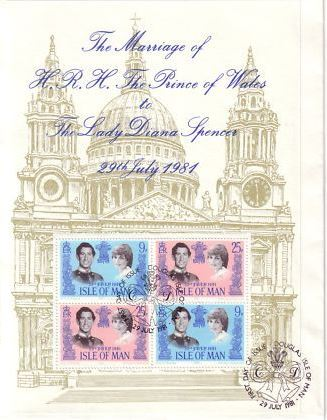 1981 IOM - Royal Wedding: Prince Charles and Lady Di M/S FDC